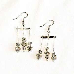 Three Tier Silver Color Earrings